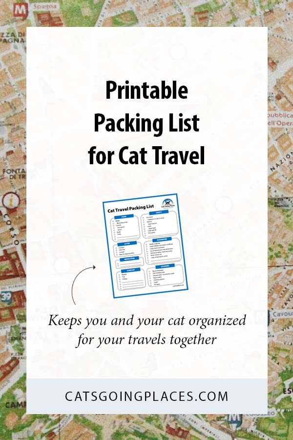 Cat Travel Packing List - Food, Litter, Medication, Comfort Items. What's on your cat's packing list for your next trip? #travel