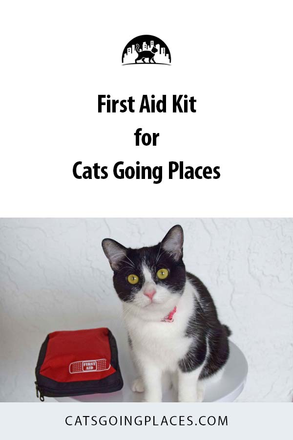 First Aid Kit for Cats Going Places. What to carry with you when you travel with your cat. #travel #cats